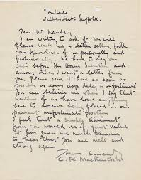 Letter Asking For A Reference A Letter From Charles Rennie Mackintosh Asking For A