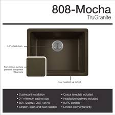 mr direct 808 silver dualmount composite granite 21 5 8 in single bowl kitchen sink ensemble with one strainer com