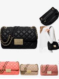 michael michael kors sloan large quilted leather shoulder bag 298 00 colors antique rose bisque pink gfruit and black