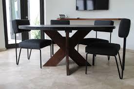 modern round metal top x base dining table modern dining table top view o19 view