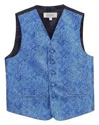 Royal Blue Formal Boys Paisley Tuxedo Vest Set