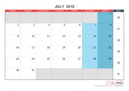 Monthly Calendar Month Of July 2018 The Week Starts On Monday