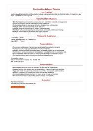 Construction Laborer Resume Great Sample Resume