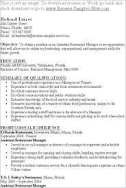 Restaurant Manager Resume Restaurant Supervisor Example Restaurant