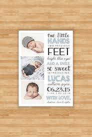 Baby Boy Birth Announcement Two Little Hands By