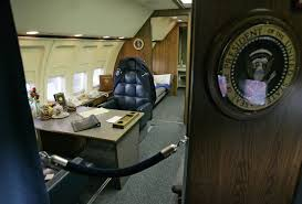 former president ronald reagans office is seen inside the retired air force one boeing 707 aircraft air force 1 office