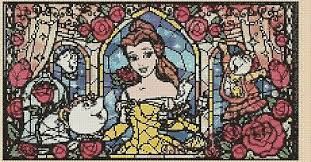 Cross Stitch Chart Belle Beauty Beast Stained Glass 2