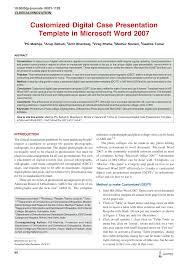 Pdf Customized Digital Case Presentation Template In Microsoft Word