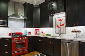 view in gallery small black white and red kitchen idea