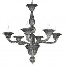 black silver venetian glass chandelier with 6 lights