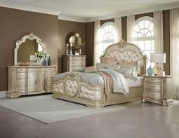 1919 NC Champagne Bonded Leather Antique White . Bedroom Set ...