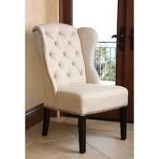 abbyson living sierra tufted cream linen wingback dining chair