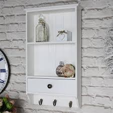 white wooden wall unit 2 shelves hooks drawer storage kitchen bathroom hallway