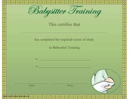 babysitting certificates this printable certificate recognizes the completion of a