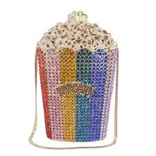 Designer Evening Bags Designer Pop Corn Evening Bags Luxury Crystal Party Purse Wedding Bags Colorful Clutch Bags