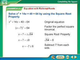 the square root property presentation transcript 1 solve