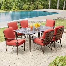 hampton bay oak cliff 7 piece metal outdoor dining set with chili cushions