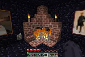 Living Room  Red Brick Stone Interior Wall With Living Room Fireplace In Minecraft