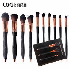 alibaba best seller cosmetics custom logo 10pcs black makeup brushes set for foundation eyeshadow and