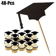 48pcs 2019 Graduation Cake Topper Graduation Party Favors Supplies