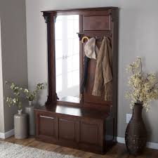 Hallway Furniture Coat Rack Mesmerizing Furniture Varnished Wooden Hallway Storage Bench With Mirror And