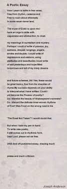 A Poetic Essay Poem By Joseph Anderson Poem Hunter