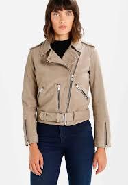 allsaints balfern biker leather jacket taupe for women