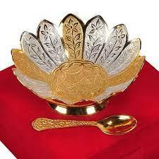 german silver lotus shape bowl velvet