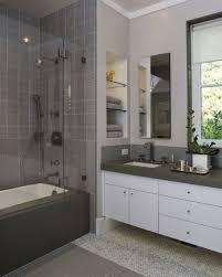 Bathroom Modern Bathroom Design With Gray Tile Wall And Wall