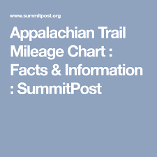 Appalachian Trail Mileage Chart Facts Information