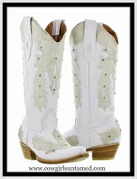 creamy vintage lace rhinestone studs on white genuine leather cowgirl boots