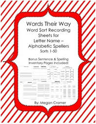 Word Inventory Words Their Way Word Sort Recording Sheets Sentence Spelling Inventory Pages