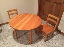 children child kid table two chairs set solid hard wood heavy round top 30 dia