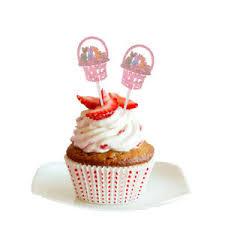 12pcs Lovely Rabbit Bunny Cupcake Picks Easter Festival Party Food