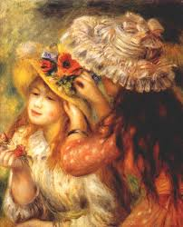2018 famous artwork pierre auguste renoir oil painting reion girls putting flowers on their hats hand painted high quality from cherry02016