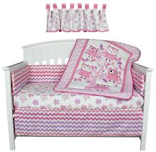 bedding sets belle image dancing owls zig zag pink and purple 5 piece baby girl