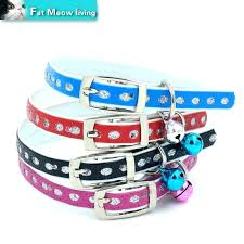 leather cat collar breakaway buckle cute multi kitten with bell fashionable necklace free in collars