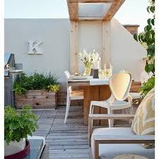 modern balcony furniture. Teak Outdoor Dining Table With Modern White Chairs Balcony Furniture E