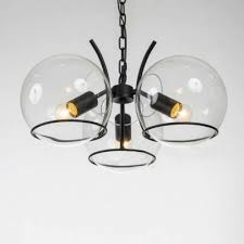 chic modern 3 light clear globe shade small led chandelier in black finish