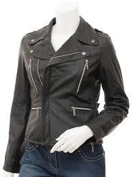 womens black leather biker jacket alden front
