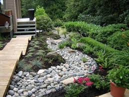 Create a dry creek bed with river rock - Click image to find more Gardening  Pinterest
