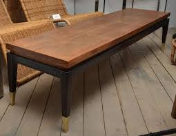 wood brass inlaid coffee table with ebony base and footed ital