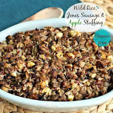 You can totally sub out the turkey for roasted chicken or ground beef or a vegan meat substitute. Wild Rice Jones Sausage Apple Stuffing Simply Sated