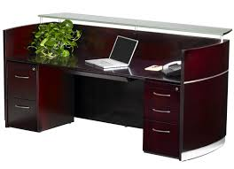 Office desks with drawers Narrow Napoli Reception Desk With Drawers Modern Office Napoli Reception Desk With Floating Glass Transaction Counter