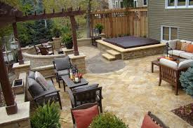 patio designs with fire pit and hot tub. Built In Hot Tubs Designs Patio Traditional With Furniture Fire Pit Travertine And Tub N