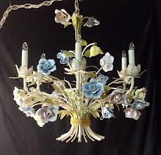vintage antique french style tole chandelier 6 arms porcelain roses 24