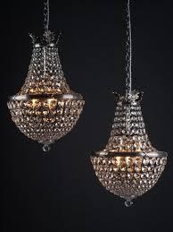 pair of antique waterfall bag crystal chandeliers