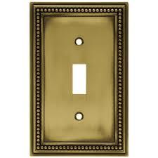 antique switch plates. Plain Antique Hampton Bay Beaded Decorative Single Switch Plate Tumbled Antique Brass On Plates E