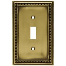 hton bay beaded decorative single switch plate tumbled antique br