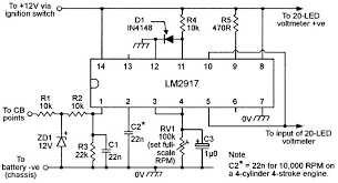 led graph circuits nuts volts magazine figure 16 vehicle tacho conversion circuit for use a 20 led voltmeter